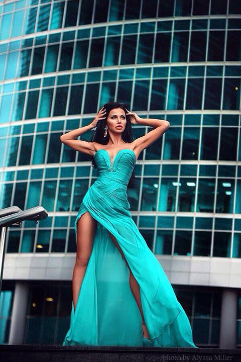 Beautiful fashion green gown