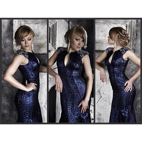 Sleeveless Sapphire Blue Evening Gown