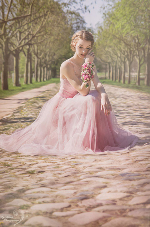 Be a princess in this sweet pink formal gown