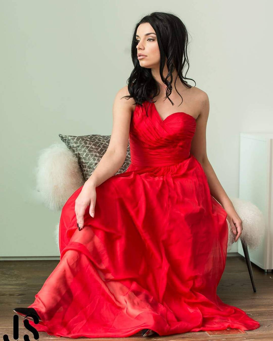 One Shoulder Red Long Prom Dress Sexy Dress