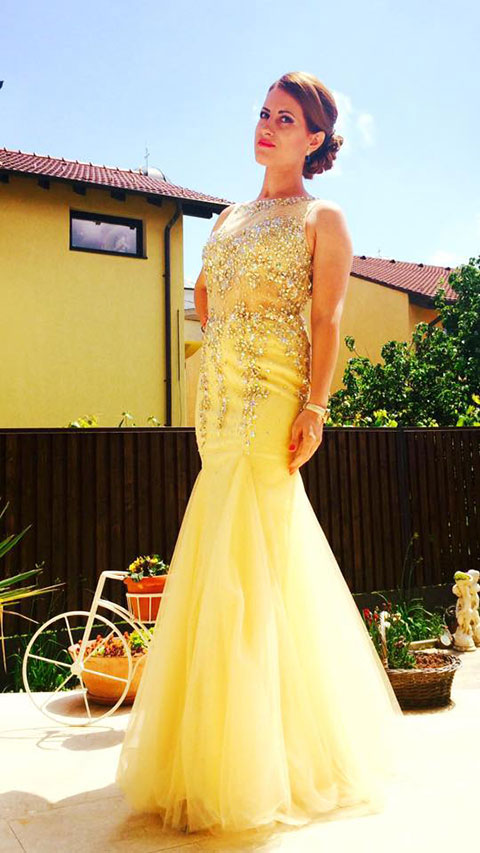 Trumpet Sleeveless Beaded Illusion Prom Dress