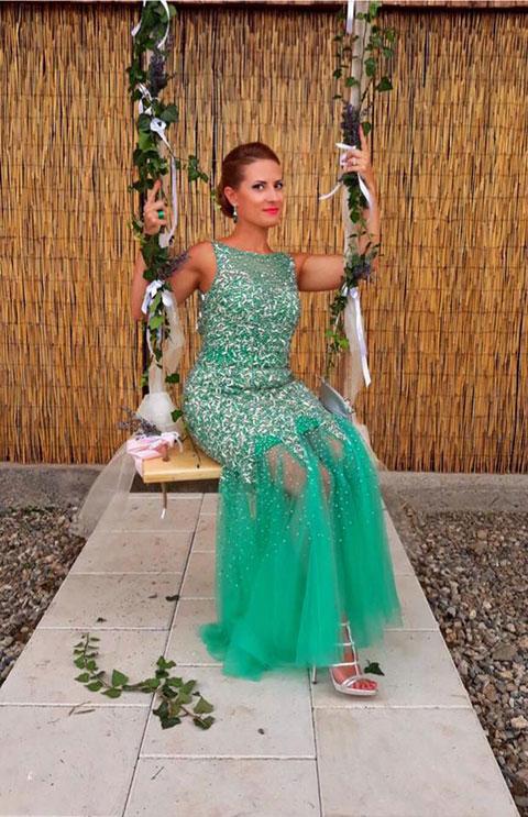 Beaded Green Mermaid Evening Dress Long