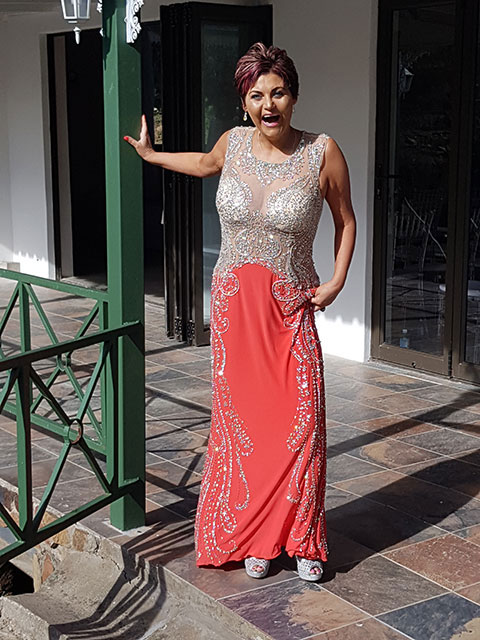 Sparkling Coral Formal Gown with Beaded Details