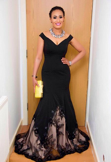 Off Shoulder V Neck Black Prom Dress Formal Gown