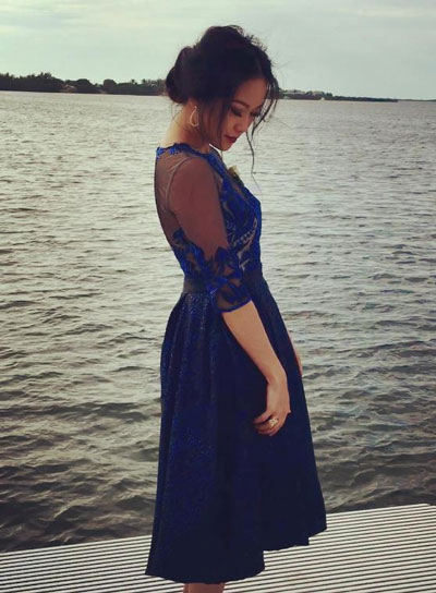 Vintage Half Sleeves Prom Cocktail Dress