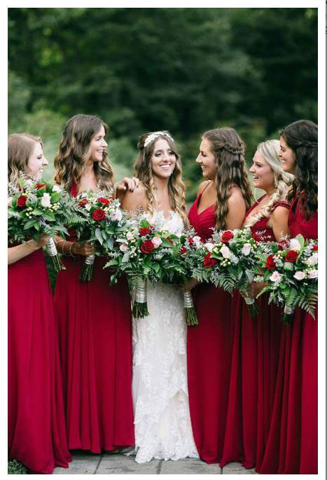 Burgundy Prom Bridesmaid Dress Evening Dress