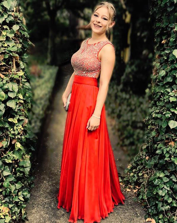 Red Beaded Top Prom Dress