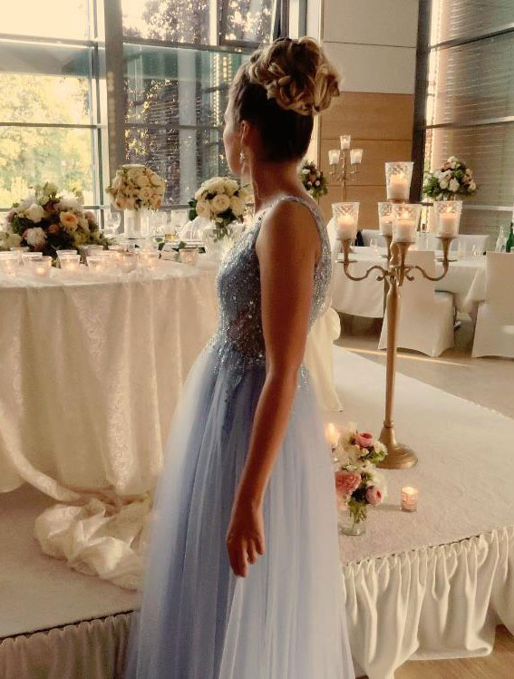 V Cut Beaded Blue Prom Dress
