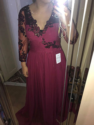 Burgundy V Cut Prom Evening Dress With Long Sleeves